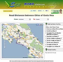 Calculadora y mapa de distancias en Costa Rica